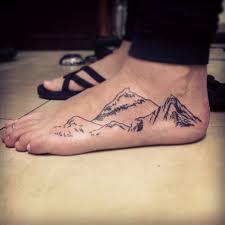 Mountains Tattoo On Left Foot