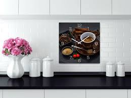 wanduhr glas 30x30cm kaffee braun glasuhr uhr glasbild küche