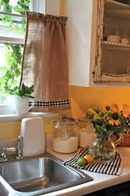 DIY Burlap Curtain Trimmed With Checkered Ribbon Pick My Kitchen Colors Hung A Tension Rod Like The Chicken Wire Cabinets Too