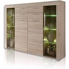trendteam smart living wohnzimmer highboard sideboard wohnzimmerschrank boom 160 x 137 x 40 cm in eiche sägerau hell mit brünierten glasscheiben