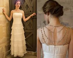 Simple Tiered Wedding Dress With Ruffles Vintage 1920s Great Gatsby Beaded