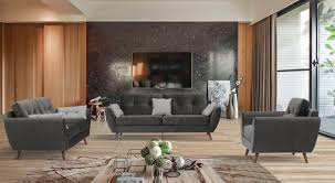 100 Modern Chic Living Room ESF 707 Grey Fabric Sofa Loveseat And Chair