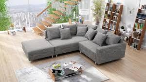 modernes sofa ecksofa eckcouch in gewebestoff hellgrau mit hocker minsk l