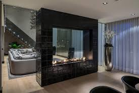 Living Room With Fireplace Design by Fireplaces As Room Dividers 15 Double Sided Design Ideas