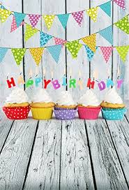 Laeacco Children Birthday Party Photography Background 6x8ft Cake Smash Cupcakes Candles Colorful Flag Decoration Wooden