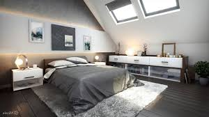 Low Ceiling Attic Bedroom Ideas Brown Leave Wallpaper Black Iron Headboard Laminated Window White Modern Wood Shelves Painted