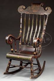 Exceptional Paint-Decorated Boston Rocking Chair With Arms ... Cherry Wood Antique Rocker With Inlay Collectors Weekly Help Me Safely Disassemble A Rocking Chair Fniture Dit Early 19th Century Decorated Boston Rocker This Is Depop An Federal Style Faux Bamboo Antique Rocking Chair Stock Photos 19thc Original Black Painted And Stenciled Fruit Vintage Childs Bostonstyle The Great Toward The Truth About American Rockers Trader Antiques Atlas