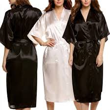 robe de chambre satin homme 2018 wholesale unisex silk satin robes bathrobes