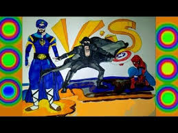 A Flying Jatt Vs Krrish Spiderman Colors Superheroes Coloring Pages Drawing For Kids