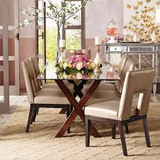 Pier One Dining Table Chairs by Bennett Mahogany Brown Dining Table Base Buffet Room And