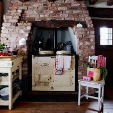 Kitchen New Rustic Aga In Chimney Alcove