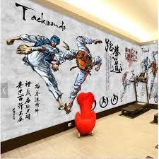 große kundenspezifische wand tapeten wohnzimmer sport hintergrund wand papier handgefertigte taekwondo papel de parede