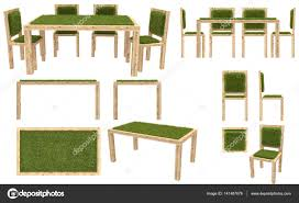 Wooden Table And Chairs With Grass Cover Garden Furniture Top View Side