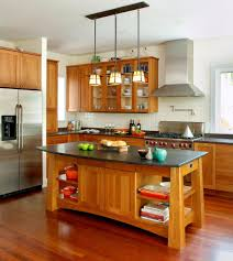 brown oak wood kitchen island with gray sand marble top and
