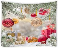 amnysf wandteppich mit quaste weihnachtsdeko für schlafzimmer wohnzimmer schlafsaal 70x70 inch 180x180cm grün rot