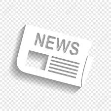 Newspaper Sign Vector White Icon With Soft Shadow On Transparent Background Stock