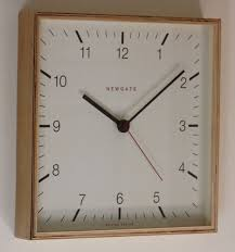 Contemporary Square Wooden Wall Clock Natural Finish For Marvelous Living Room Design