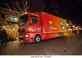 MAN Red Delivery Vehicles Holland Flower Market Delivering Goods To Chester Christmas