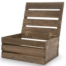 Wooden Crate Storage Box With Lid