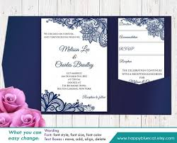 Printable Pocket Wedding Invitation Template SET Instant Download EDITABLE Text Navy Rustic Burlap Lace
