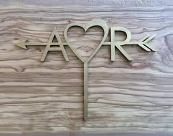 A Love R Wooden Arrow Cake TopperArrow Initials TopperPersonalized Topperwedding Topper