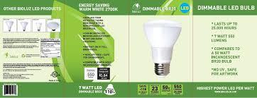 bioluz led br20 led dimmable bulb 7w 50w equivalent 2700k warm