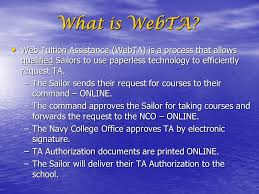 Wel e to the Web Tuition Assistance WebTA Briefing ppt video