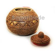 This Coconut Shell Craft Is Unique Design Using With Rope Made Of Fiber Twisted The Whole Pot