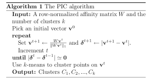 The image above shows a demonstration of the power iteration method taken from their ICML 2010 paper a Shows a problem that K means clustering has a