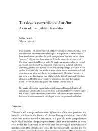 The Double Conversion Of Ben Hur A Case Manipulative Translation