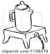 Clipart Of A Retro Vintage Black And White Coffee Percolator On Wamer Royalty Free Vector
