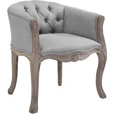 Court Vintage French Dining Arm Chair In Light Gray Fabric By Modway