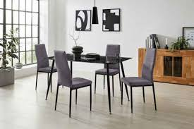 homexperts essgruppe romeo zeus set 5 tlg glastisch breite 140 cm und 4 esszimmerstühle bezug in webstoff