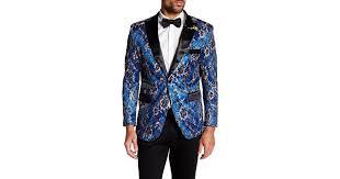 Lyst T r premium Sequined Embroidered Slim Fit Blazer in Blue