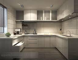Modern White Kitchen Interior 3d Rendering Stockfoto Und Modern White Kitchen Interior 3d Model Max Vray