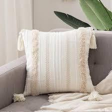 dekorative kissenbezug baumwolle dekokissen boho weich kissenbezüge quaste decor kissenhülle für sofa schlafzimmer wohnzimmer auto