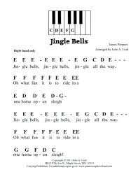 Jingle Bells easy pre staff music with letters for beginning