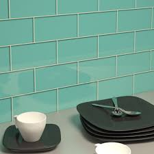 glass subway tile teal 3 x 6 glass tile