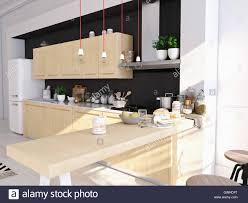 100 Gw Loft Apartments Modern Nordic Kitchen In Loft Apartment 3D Rendering Stock Photo