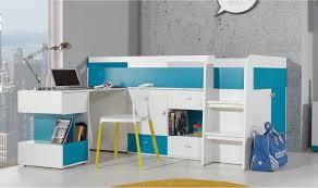 lit et bureau enfant lit enfant haut avec bureau coulissant et rangement pas cher