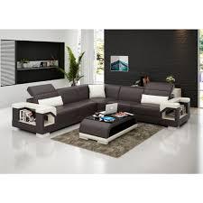canapé d angle en cuir nimes 5 places têtières inclinables lit
