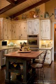 French Country Kitchen Island And Decor Authentic Character Antique White Cabinets