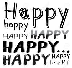 Sample Of Different Kind Fonts For The Word Happy Stock Vector
