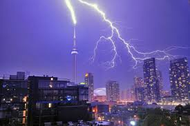 Downtown Toronto Gets Lit Up By Passing Storm