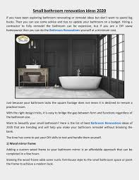 Remodeling Small Bathroom Ideas And Tips For You Ideas For Small Bathroom Renovation By 5star Bathrooms Issuu