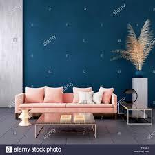 moderne dunkle blau wohnzimmer interieur mit rosa farbe
