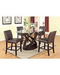 Roundhill Furniture Cicicol 5 Piece Counter Height Glass Top Dining Table With Chairs Espresso