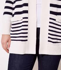 100 Loft 44 Lyst LOFT Plus Striped Pocket Open Cardigan In White