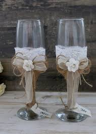 Wedding Glasses Toasting Flutes Champagne Burlap And Lace Rustic Reception Bride