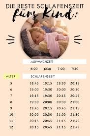 schlafenszeit tabellen und tipps wann ins bett